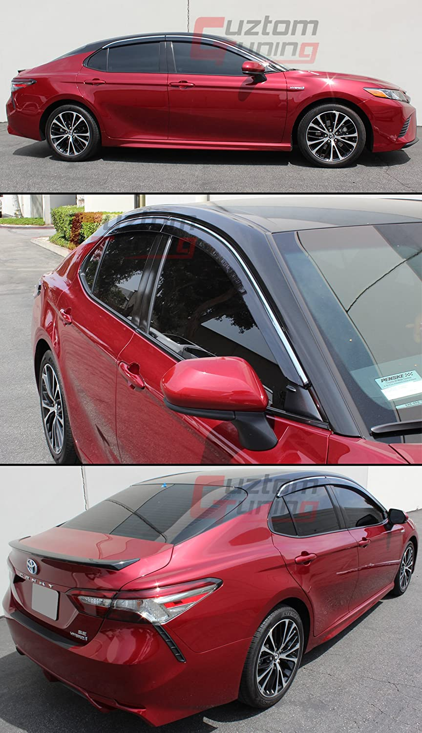 Cuztom Tuning for 2018 Toyota Camry Clip-ON Type Chrome Trim Window Visor RAIN Guard Deflector