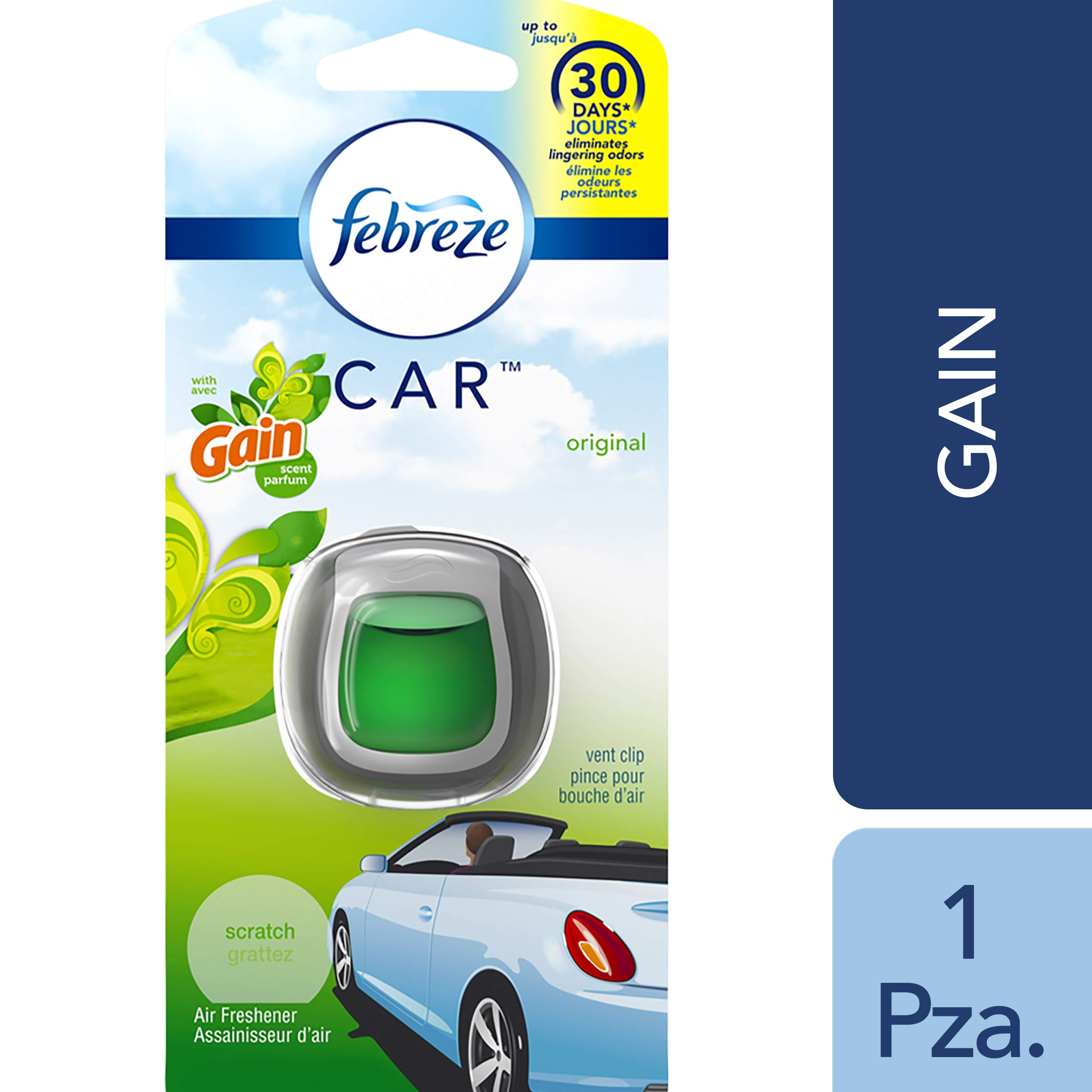 Febreze Car Vent Clip Auto, Home Office AC Air Freshener & Odor Eliminator, With Gain Original