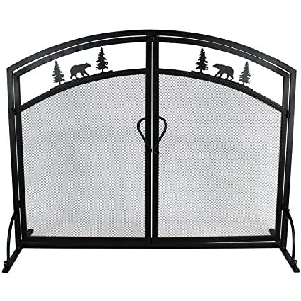 Single Panel Wrought Iron Fireplace Screen Black Iron Mesh Fireplace Screen With Hinged Magnetic Doors Decorative Fireplace Screen Spark Guard For