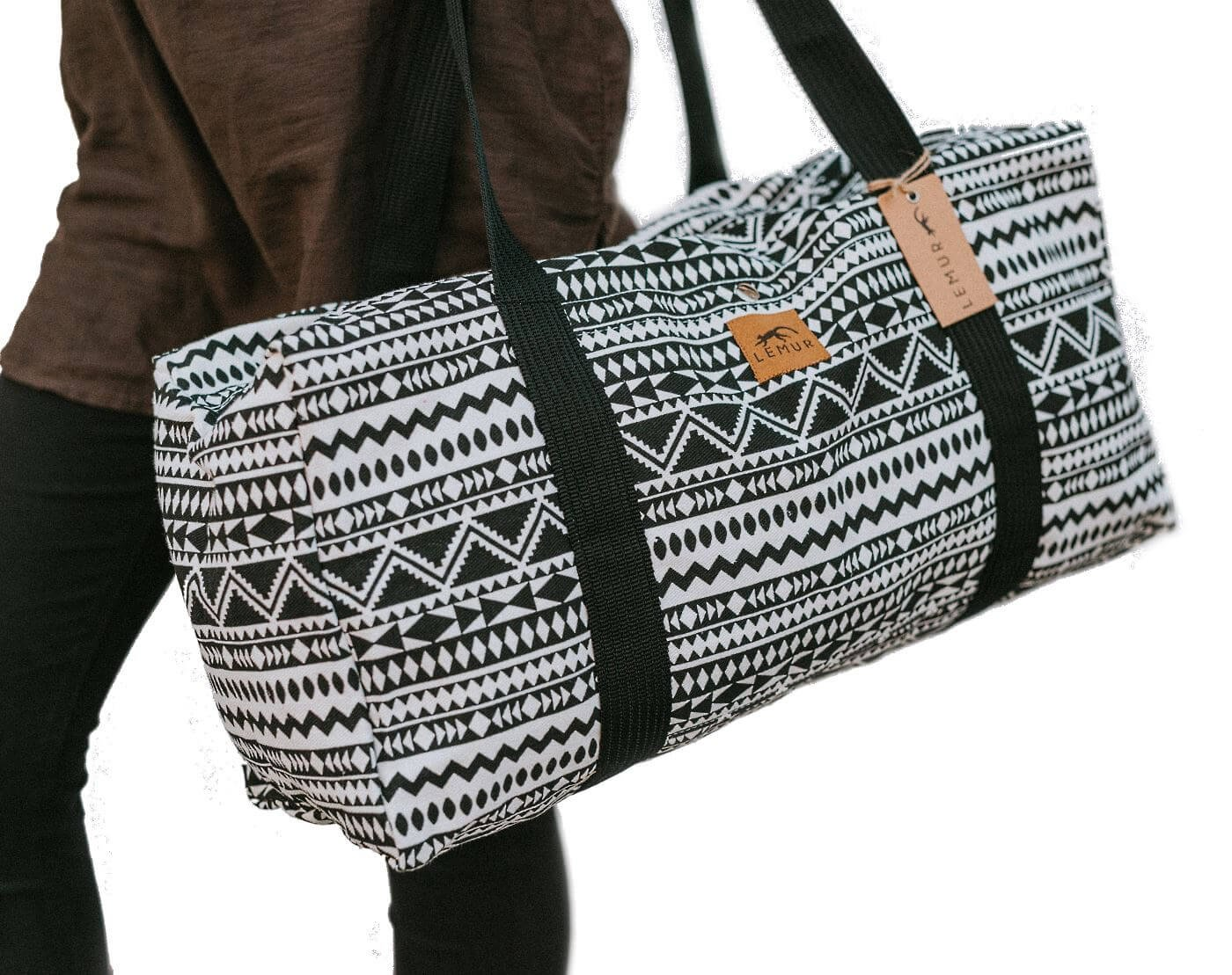 Canvas Duffel Bag - 20 Liter Gym Tote, Foldable Overnight Travel Weekend Luggage by Lemur Bags (Aztec Tribal)