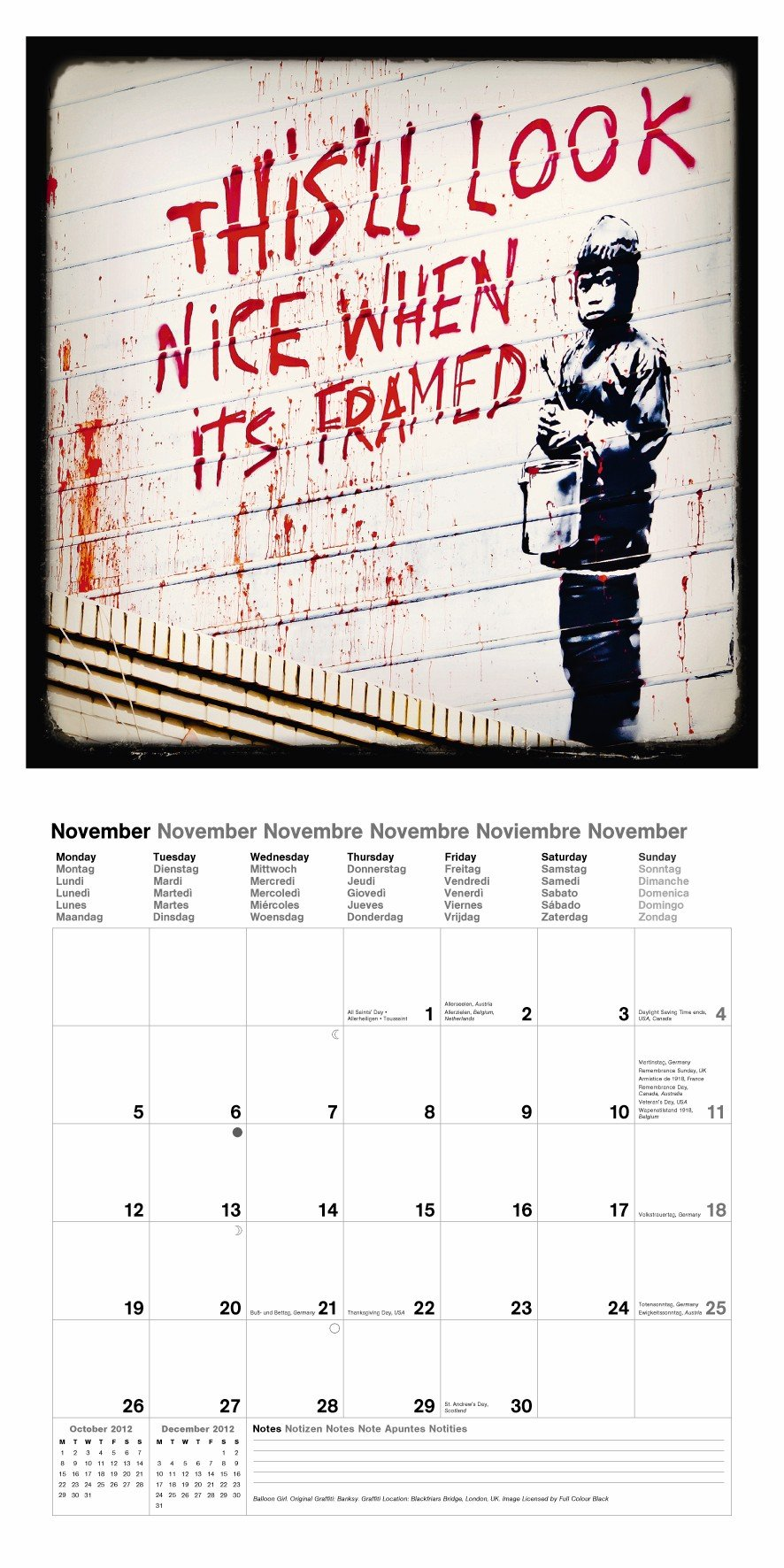 2012 Banksy Wall Calendar (English, German, French, Italian, Spanish and Dutch Edition) by teNeues