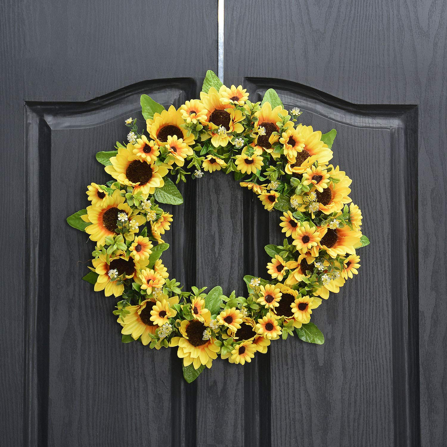 QUNWREATH Handmade Floral 14 inch Sunflowers Series Wreath,Fall Wreath,Wreath for Front Door,Rustic Wreath,Farmhouse Wreath,Grapevine Wreath,Light up Wreath,Everyday Wreath,QUNW01