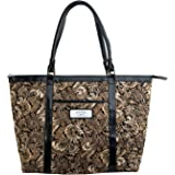 """Brown Quilted Paisley Tote Bag w/""""Faith"""" Badge"""