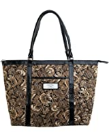 "Brown Quilted Paisley Tote Bag w/""Faith"" Badge"