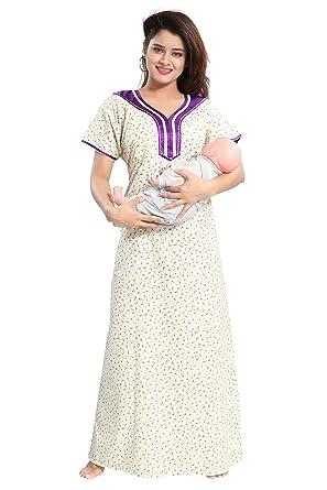 8bf62b494e2 TUCUTE Womens Premium Cotton Fabric Feeding Maternity Nighty Night Gown  Nightwear   Nightdress