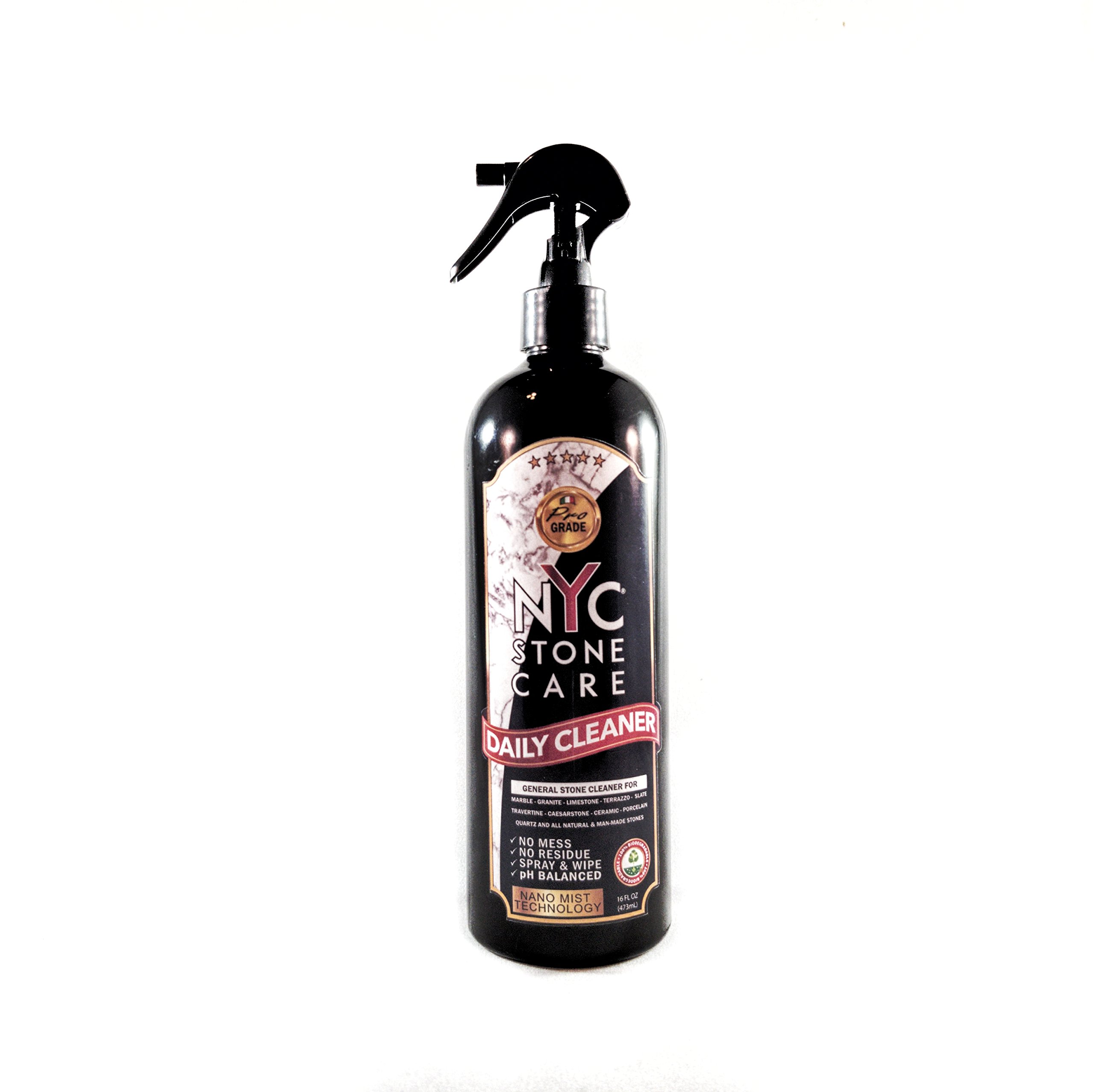 NYC Stone Care - Daily Stone Cleaner - 16Fl.oz pH Neutral Daily Cleaner for Marble, Granite and All Types of Natural and Man-Made Stones