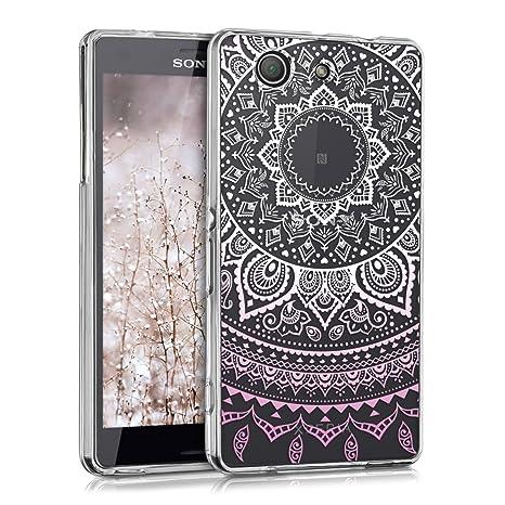 kwmobile Funda para Sony Xperia Z3 Compact - Carcasa de [TPU] para móvil y diseño de Sol hindú en [Rosa Claro/Blanco/Transparente]