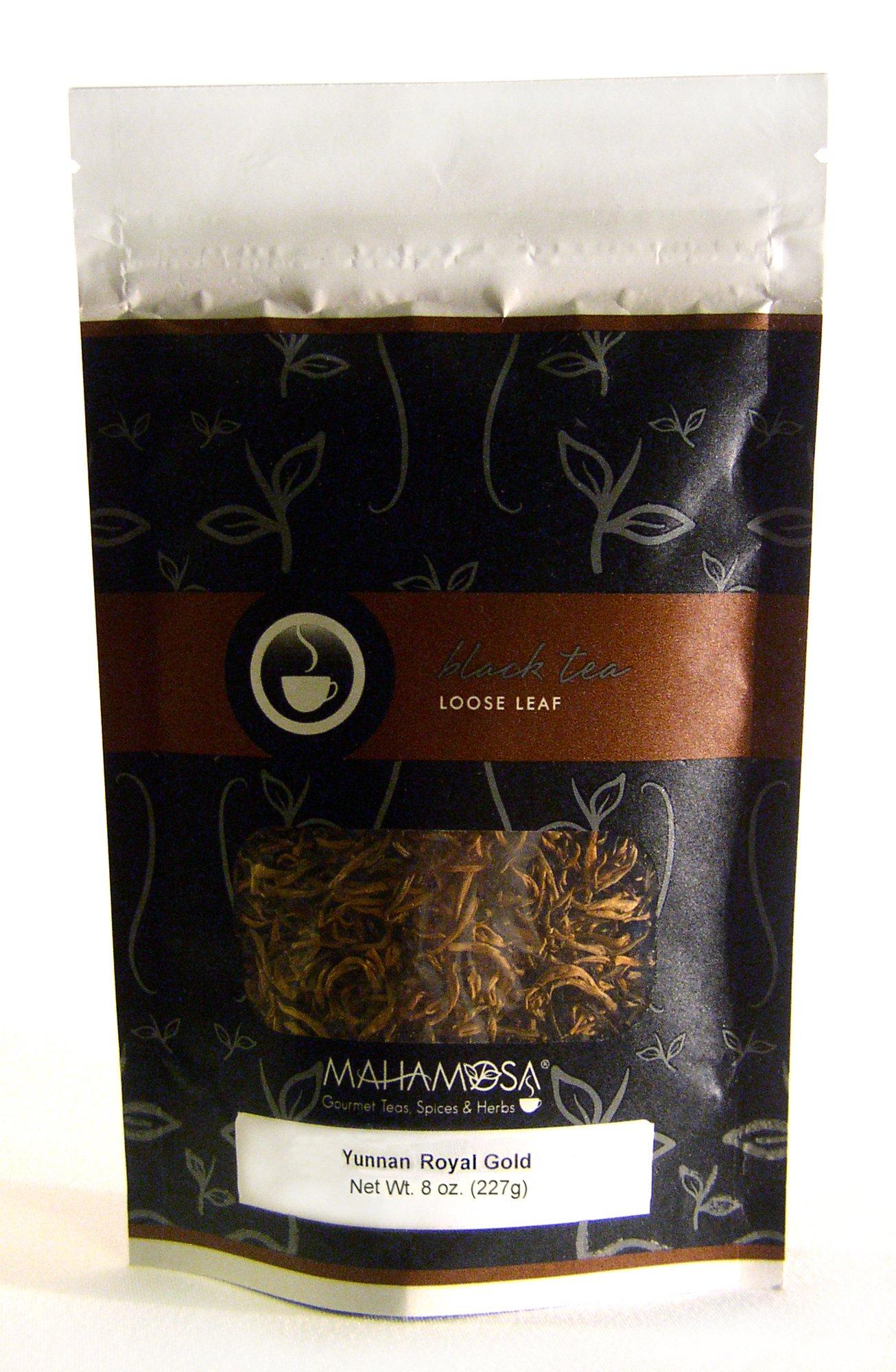 Mahamosa China Black Tea and Tea Infuser Set: 8 oz Yunnan Royal Gold Black Tea, 1 Stainless Steel Tea Ball Infuser (Bundle- 2 items)(Tea Ingredients: Chinese black tea)