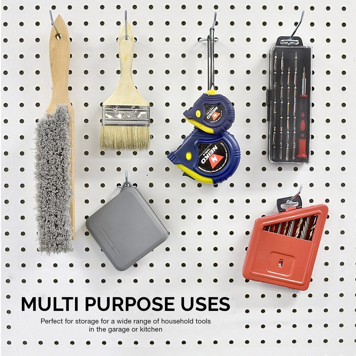 50-Piece Value Pack Neiko 53100A 4-Inch Pegboard Hooks and Organizer Assortment