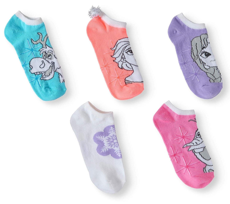 Disney Frozen No Show Socks 5 Pair Girls Shoe Size Large 4-10 w//Elsa Anna Olaf /& Sven