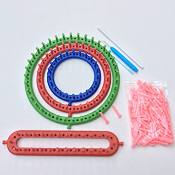 7cb6a739f80 Knitting Loom Assortment Set of 4  1 Long + 3 Round Looms. With pink ...