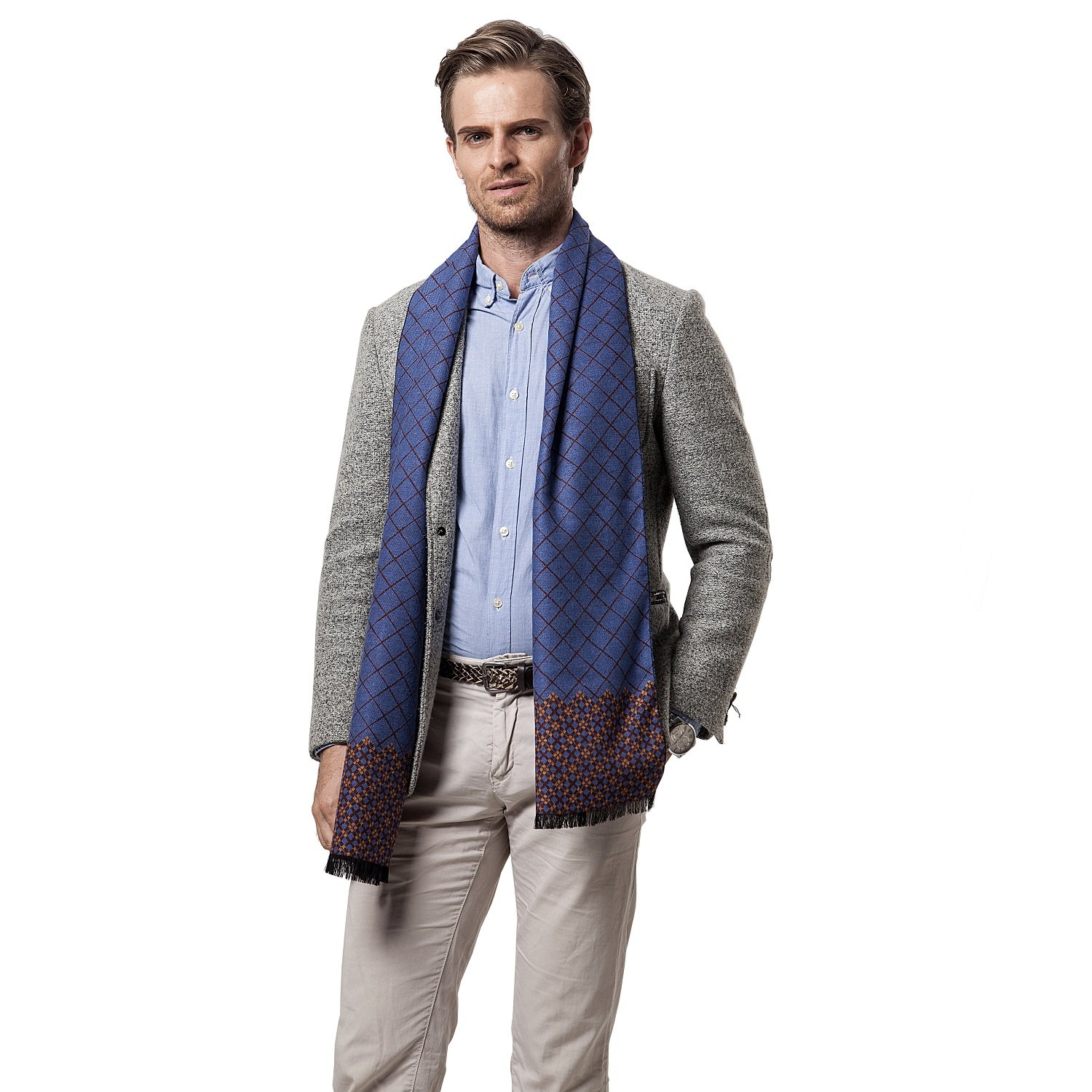 Scarf for Men, Leisofter Men's Cashmere Scarf Classic Houndstooth Plaid Leisure Business Neckerchief, (Blue)