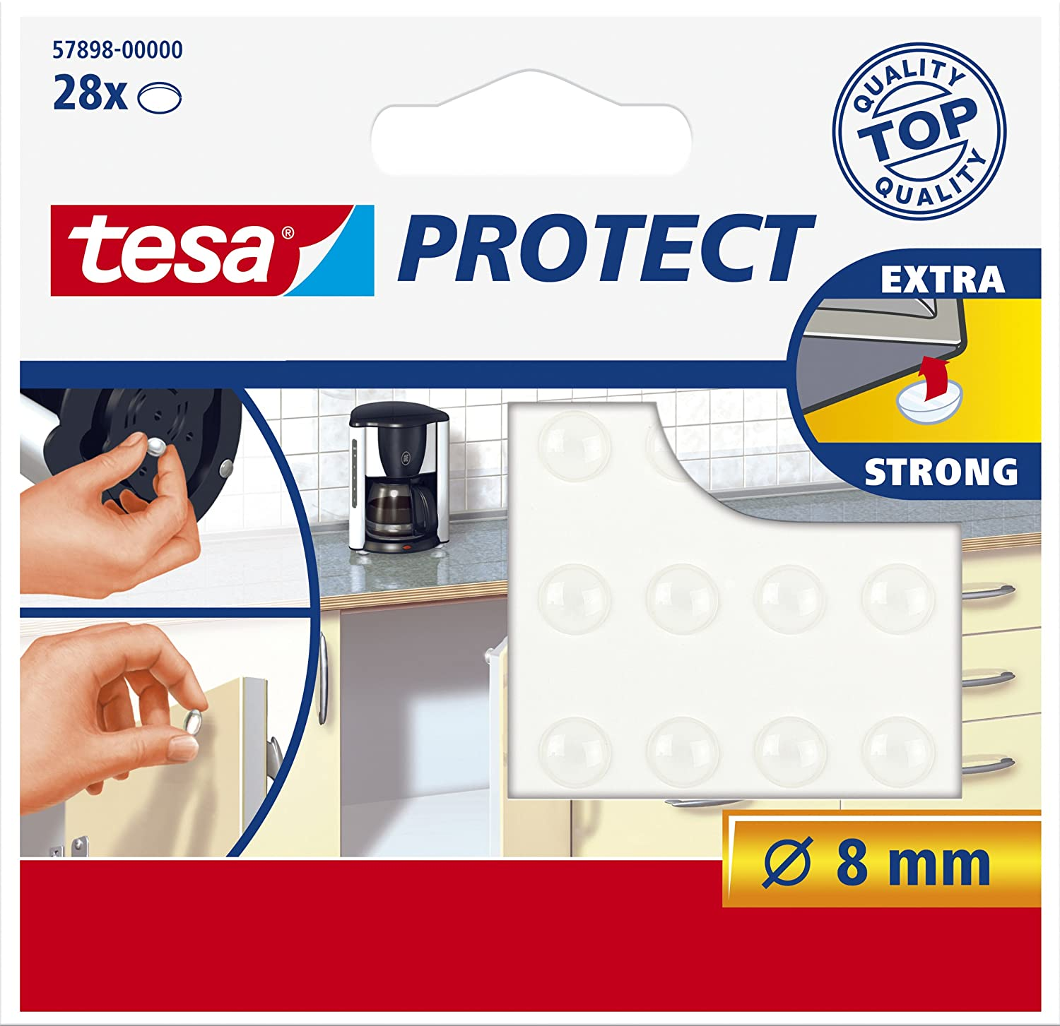 tesa UK Tesa 57898 Self Adhesive Door And Drawer Protection Pads, Round, Transparent Tesa® 57898-00000-01