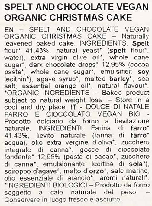 Panettone de espelta y chocolate vegan - 750 gr.
