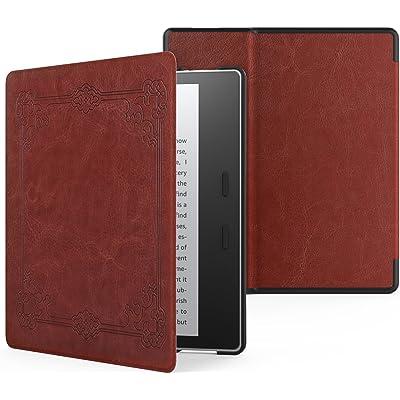 MoKo Funda Compatible con Kindle Oasis (9th Generation, 2017 Release), Ultra Delgada Ligera Smart-Shell Soporte Cover Case - Estilo Vintage