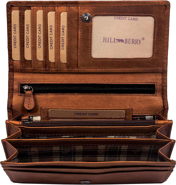Hill Burry Cartera de Cuero para Mujer | Billetera - Monedero de Cuero Genuino con Aspecto Vintage | Mujeres - Hombre | XXL Largo Grande Capacidad (marrón)