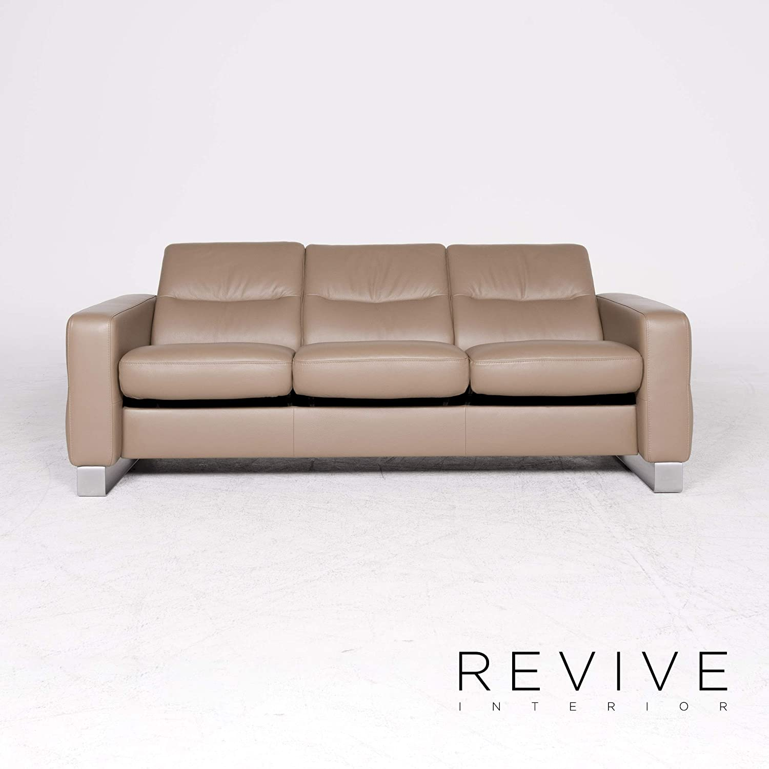 Stressless Wave Designer Leather Sofa Beige Genuine Leather ...
