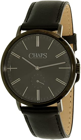 Amazon.com: Chaps Mens Dunham Quartz Stainless Steel and Leather Casual Watch, Color:Black (Model: CHP5018): Chaps: Watches