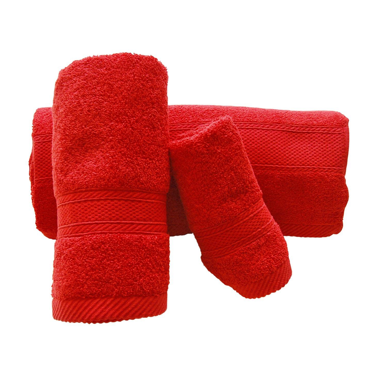 Navidad conjunto de 3 rojo toallas de baño bordadas - ref. Feliz Navidad: Amazon.es: Hogar