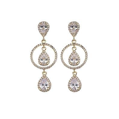 807768a3320f4 Teardrop Dangle Earrings for Women - Sterling Silver Cubic Zirconia Crystal  Long Dangle Drop Bridal Earrings for Wedding Gala Pageant Party Prom ...