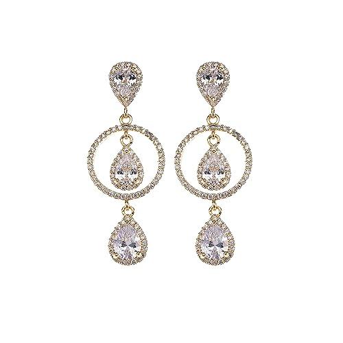 6327f05d2 Long Cubic Zirconia Dangle Earrings - 14k Gold Plated Sterling Silver  Teardrop Crystal Long Dangle Drop