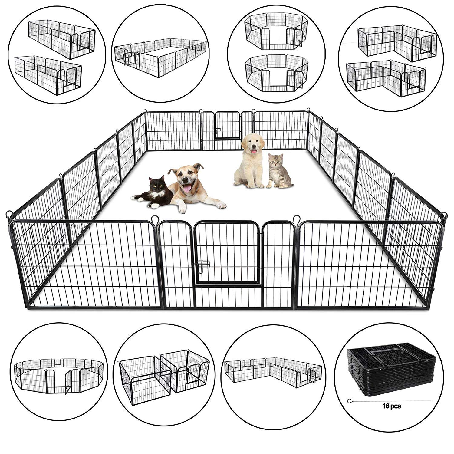 Nova Microdermabrasion Foldable Metal Exercise Pen Pet Playpen Kennel with Door, Outdoor/Indoor Play Yard Small Dog Puppy Cat Rabbit Fence Exercise Barrier Cage, 16/8 Panels (16 Panels)