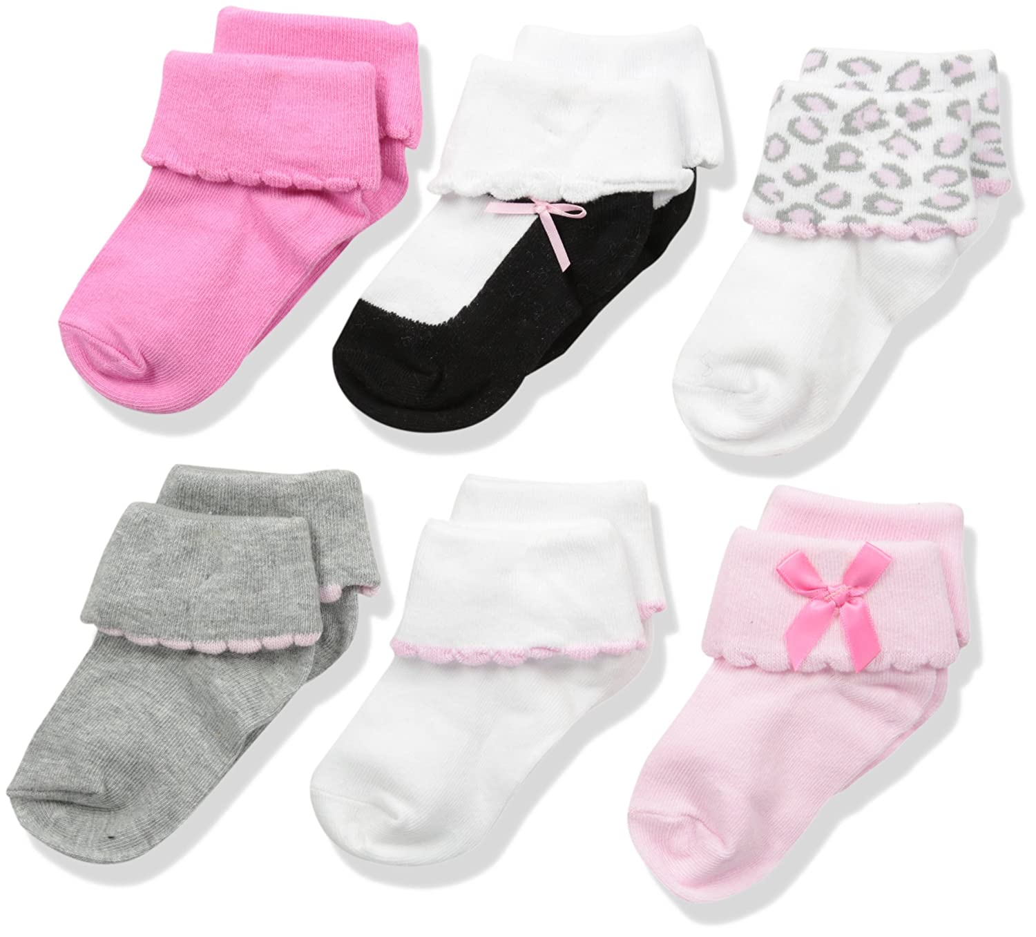 Luvable Friends womens Baby 6 Pair Dressy Cuff Socks 26124