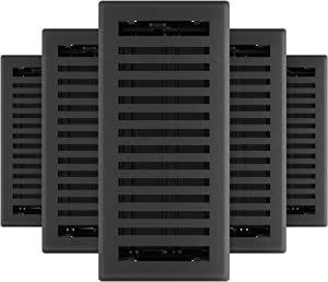 Imperial RG3439 Montezuma Decorative Floor Register, 4 x 10-Inch, Black Iron, 5 Pack