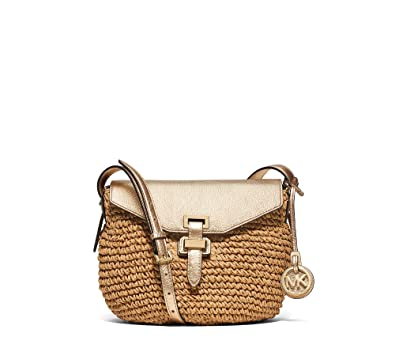 cdd74950896a24 ... good michael michael kors straw naomi medium messenger pale gold gold  dacd4 67d60