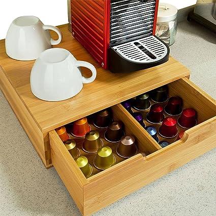 Bakaji Dispensador Con Cajón Para Almacenar Cápsulas Almacenamiento Organizador Cápsula de Nespresso Dolce Gusto Café Té