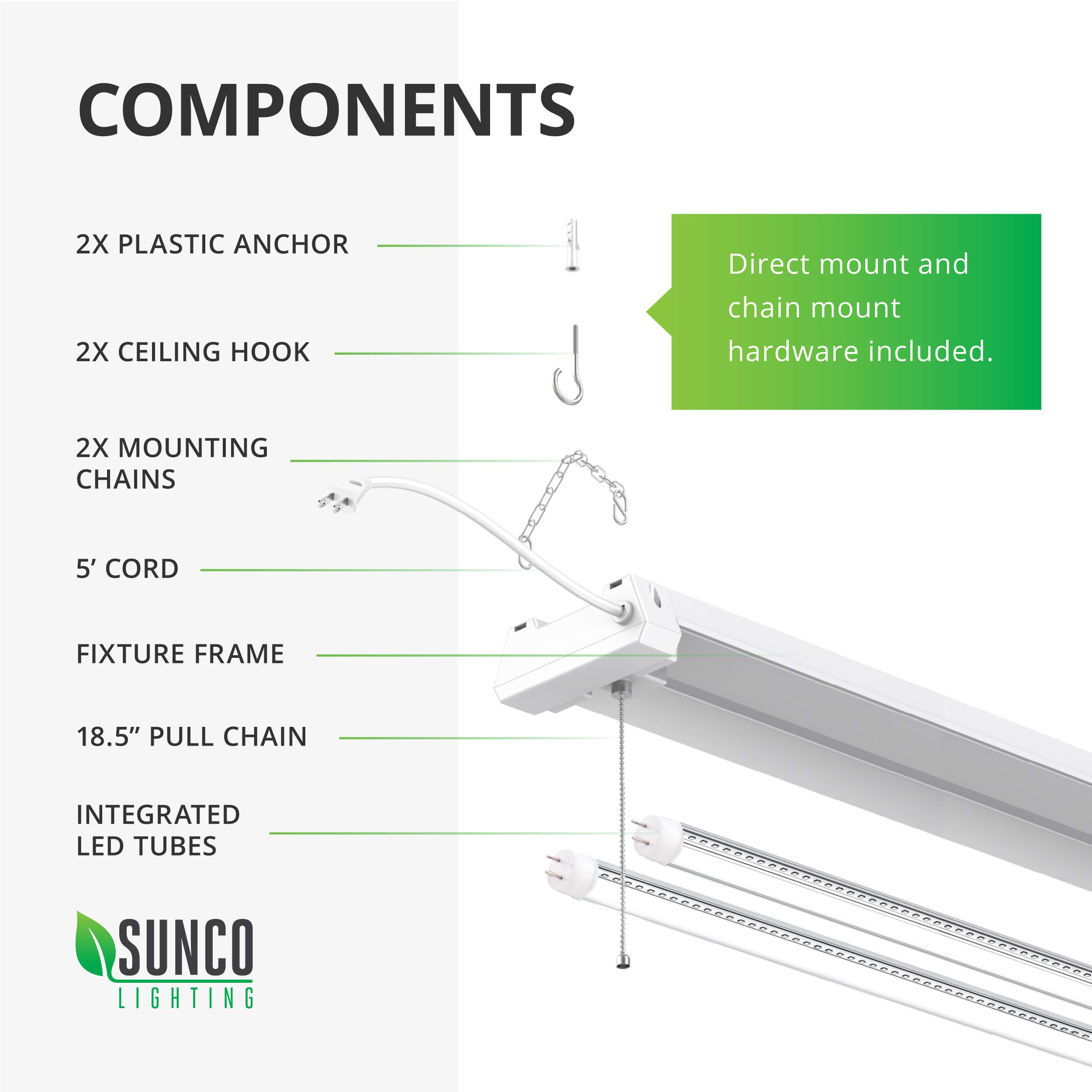 Sunco Lighting 12 Pack LED Utility Shop Light, 4 FT, Linkable Integrated Fixture, 40W=260W, 5000K Daylight, 4500 LM, Clear Lens, Surface/Suspension Mount, Pull Chain, Garage - ETL, Energy Star by Sunco Lighting (Image #7)