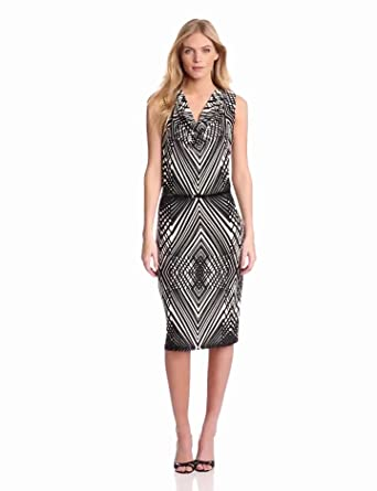 Anne Klein Women's Abstract Line Cowl Neck Dress, Black/ Camellia Multi, X-Small