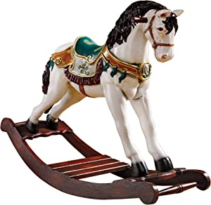 Design Toscano NE46747 Christmas Decorations - Victorian Christmas Carousel Horse Rocking Horse Holiday Decor Statue,full color