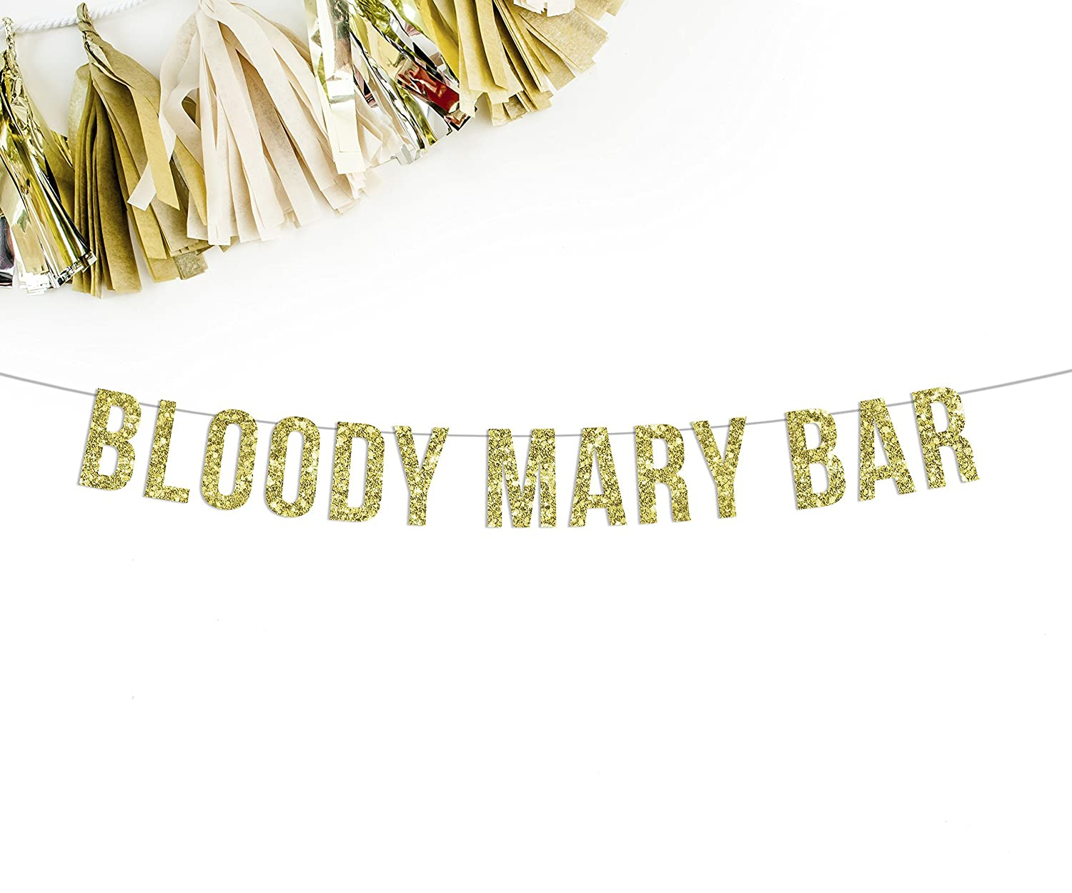 Bloody Mary Bar Gold Glitter Party Banner || wedding bar sign
