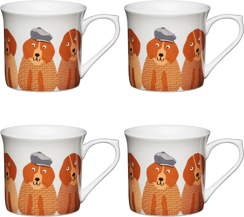 300 ml China KitchenCraft Cats Fluted Printed Animal Mugs Set of 4 Grey