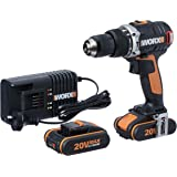 WORX WX373 Hammer Drill 20V MAX 13mm Cordless Brushless Hammer Drill/Driver with 2X Batteries, Charger & Carry Case