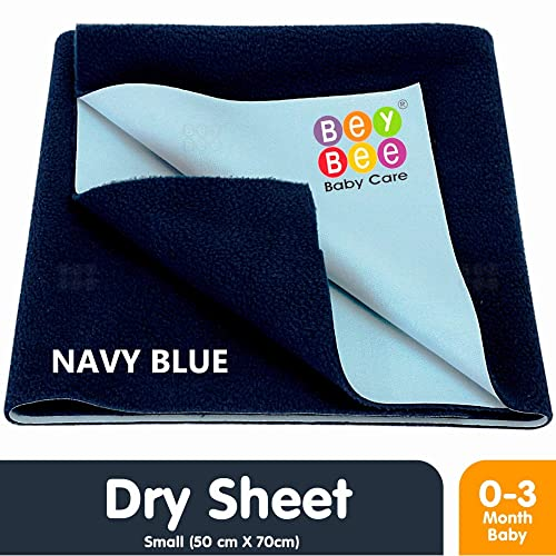 Bey Bee Waterproof Bed Protector for New Born Babies and Kids, Small, Dark Blue (70 cm x 50 cm)