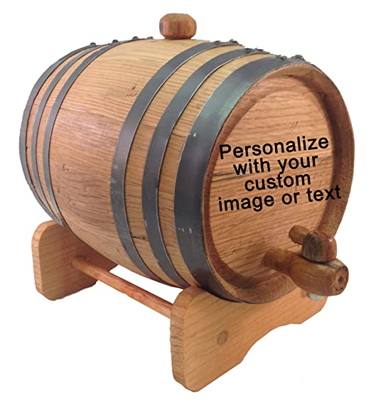 Custom Engraved 3 Liter Oak Barrels for Aging Whiskey, Rum, Tequila, Bourbon, Scotch and Wine (3 liter)