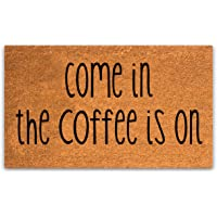 Pure Coco Coir Doormat with Heavy-Duty PVC Backing - Come in The Coffee is on - Size: 17-Inches x 30-Inches - Pile…