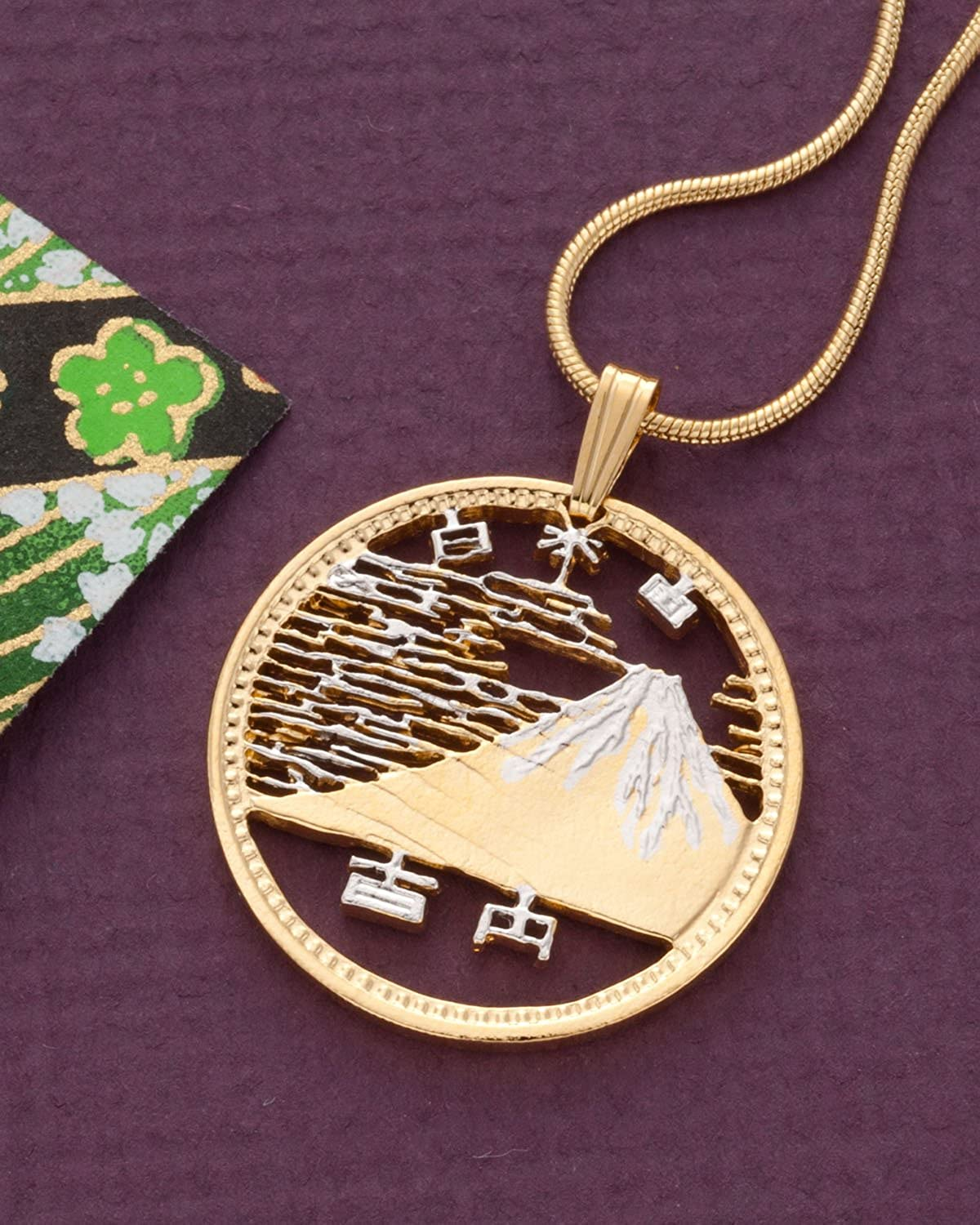Japn 100 Yen Hand Cut Japanese Coin Pendant /& Necklace