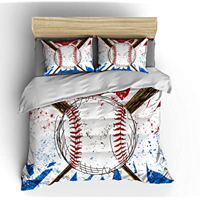 Abojoy Vintage Sports Baseball Themed Duvet Cover Set for Teen Boys Girls, Classic Hand Drawn Printed Soft Microfiber Quilt Cover 2pcs Bedding Set(No Comforter), Twin Size: Home & Kitchen