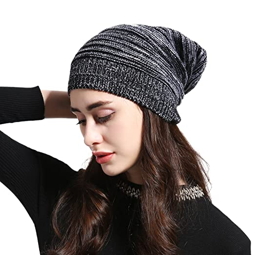 0a17b0e026e4a JOOWEN Women s Oversized Baggy Slouch Knit Beanie Soft Warm Slouchy Skully  Cap (Black)