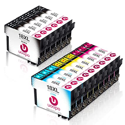 Uoopo 15 Paquete Alta Capacidad Cartuchos de tinta para Epson 18 ...