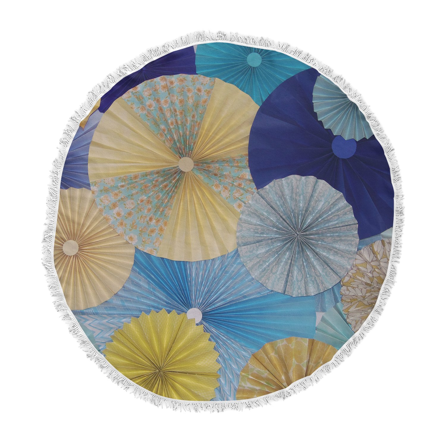 Kess InHouse Heidi Jennings Suspension Gold Blue Round Beach Towel Blanket