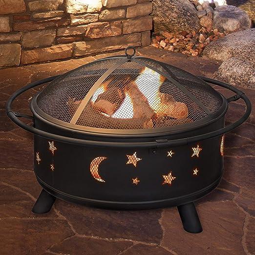 Fire Pit redondo calentador de Patio barbacoa brasero para barbacoa de jardín barbacoa. Estrellas/DD: Amazon.es: Jardín