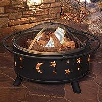 AmbienceOutdoors Fire Pit Round Patio Heater BBQ Decking Firepit Garden Brazier Stars/DD