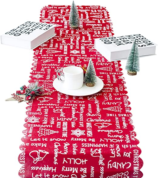 Jueshanzj - Bordado Navidad Camino de Mesa Letra Bell 35 * 170 ...