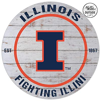 KH Sports Fan Circle Indoor/Outdoor Weathered Circle - Classic Illinois Fighting Illini : Garden & Outdoor