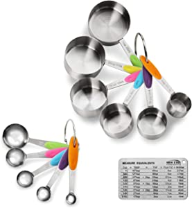 New Star Foodservice 1028065 Stainless Steel 18/8 12-Piece Measuring Cup and Spoon Set