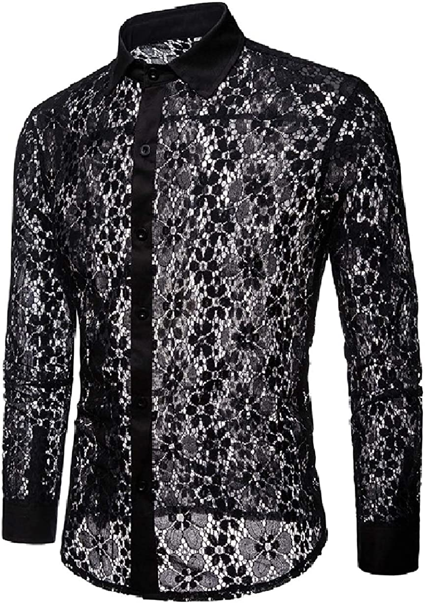 Losait Men Hollow Out Clubwear Lace Botton Front See Through Dress Shirt